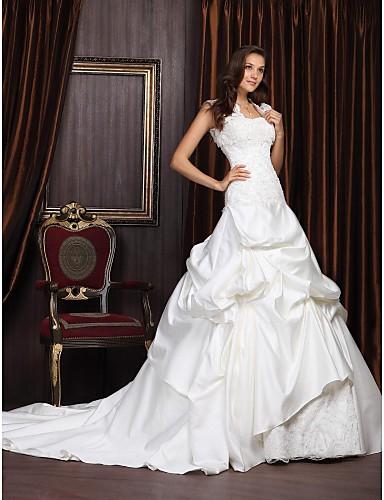 Abito sposa, modello principessa, con strascico da cappella, in raso e ...