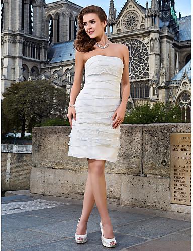 Buy Lanting Sheath/Column Plus Sizes Wedding Dress - Ivory Knee-length Strapless Lace/Organza