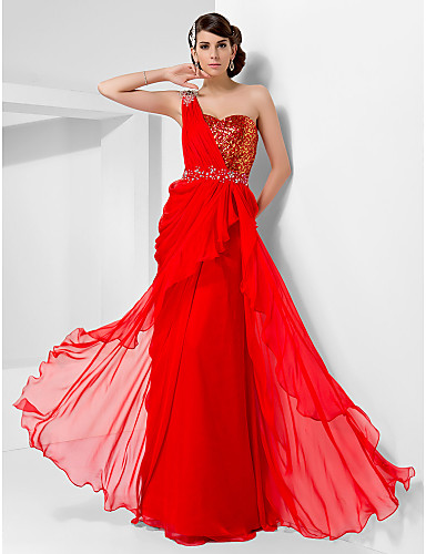 Buy TS Couture® Prom / Formal Evening Military Ball Dress Plus Size Petite Sheath Column One Shoulder Sweetheart Floor-length Chiffon Sequined