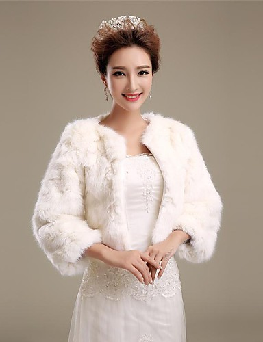 Buy Fur Wraps / Wedding Coats Coats/Jackets 3/4-Length Sleeve Faux Ivory Party/Evening Open Front