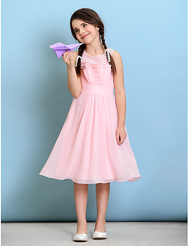 Buy Knee-length Chiffon Junior Bridesmaid Dress A-line Jewel Draping