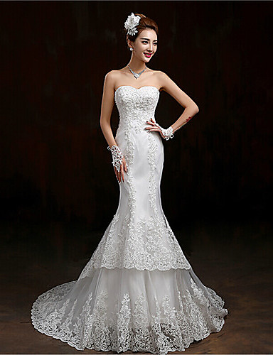 Mermaid trumpet sweetheart sweep brush train lace for Lace mermaid trumpet wedding dress