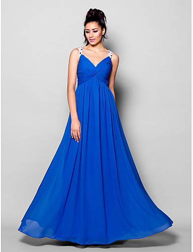 Buy Formal Evening Dress - Plus Size / Petite A-line V-neck Floor-length Chiffon