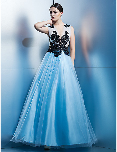 Buy TS Couture® Formal Evening / Black Tie Gala Dress A-line Jewel Ankle-length Tulle Appliques