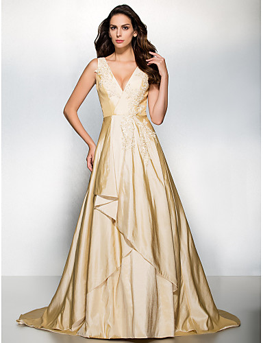 Buy TS Couture® Formal Evening Dress A-line V-neck Sweep / Brush Train Taffeta Appliques