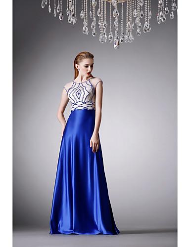 Buy Formal Evening Dress - Royal Blue A-line Jewel Floor-length Satin