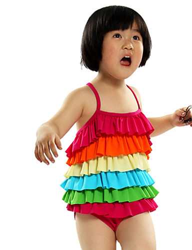 Buy 3-5Y Nylon Kids Girls One Piece Swimsuit Rainbow Children Brand Little Swimwear Summer