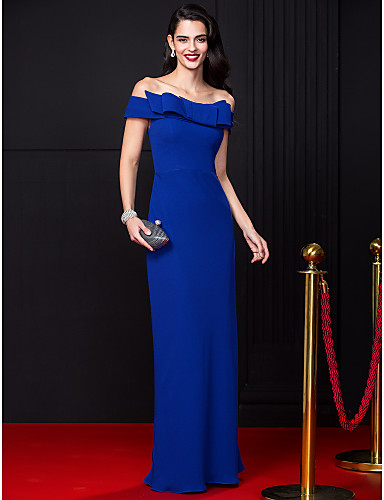 Buy TS Couture® Formal Evening Dress Sheath / Column Off-the-shoulder Floor-length Chiffon Bow(s)