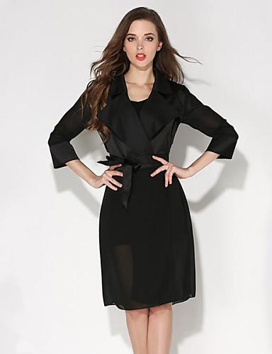 chemise aux femmes couleur pleine plage chic de rue et manches longues col de chemise noir. Black Bedroom Furniture Sets. Home Design Ideas