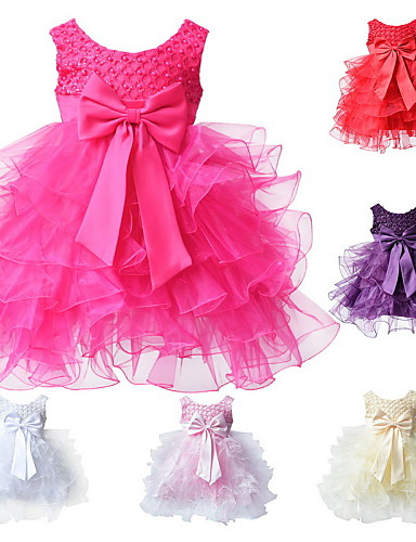 Buy Newborn Infant Girl's Pink/Red/White/Beige/HotPink/Purple BowKnot Polyester Evening Party Dresses 0~2 Y