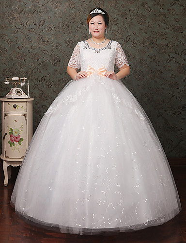 Buy A-line Wedding Dress Floor-length Scoop Lace / Tulle Crystal