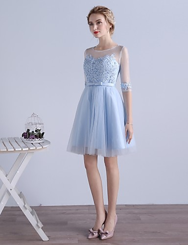 Buy Cocktail Party Dress A-line Jewel Knee-length Tulle Appliques