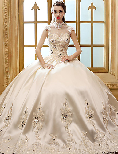 Buy A-line Wedding Dress Floor-length High Neck Satin Appliques / Crystal