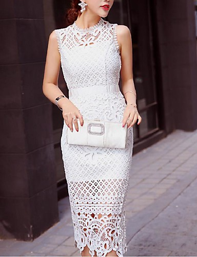 Buy Going Simple Sheath Dress,Solid Round Neck Midi Sleeveless White / Black Nylon Summer Mid Rise