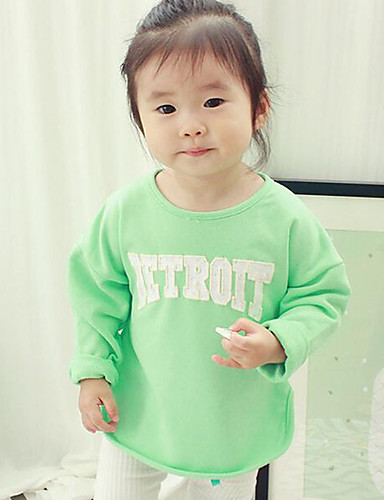 Buy Girl's Casual/Daily Solid Hoodie & Sweatshirt,Cotton / Polyester Spring Fall Green Pink