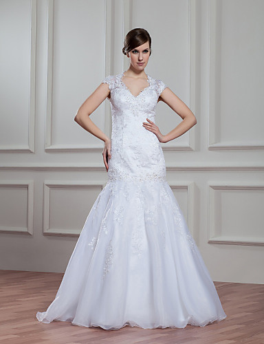 Buy A-line Wedding Dress Floor-length V-neck Organza Appliques / Beading Lace