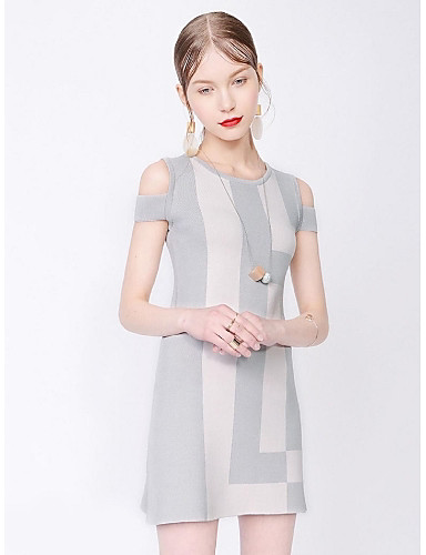 Buy Women's Going Street chic Loose Dress,Striped Round Neck Knee Short Sleeve Gray Polyester Summer