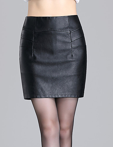 s solid black skirts simple above knee plus
