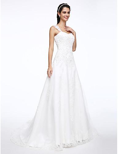 A line wedding dress simply sublime court train straps for Simply white wedding dresses