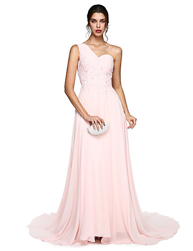 2017 TS Couture® Prom Formal Evening Dress - Elegant A-line One Shoulder Court Train Chiffon with Appliques / Pleats / Bandage