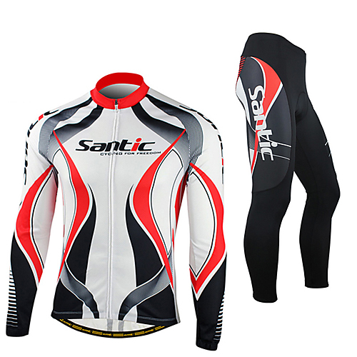 c288cd125 SANTIC Men s Long Sleeve Cycling Jersey with Tights - Red   White Bike  Jacket Tights Clothing Suit Thermal   Warm Windproof Fleece Lining  Breathable ...