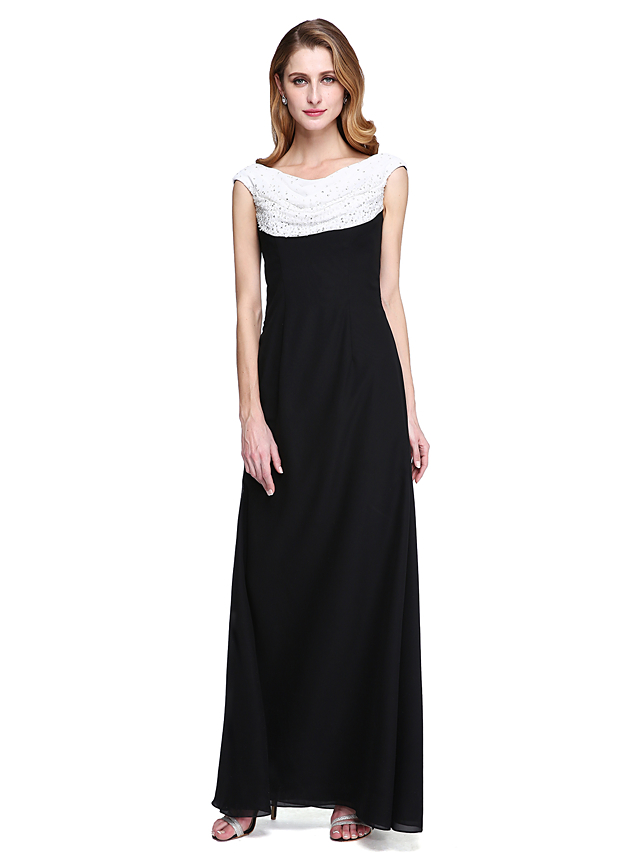 e6ebe22c6c Sheath / Column Cowl Neck Floor Length Chiffon Mother of the Bride Dress  with Beading / Pleats by LAN TING BRIDE®