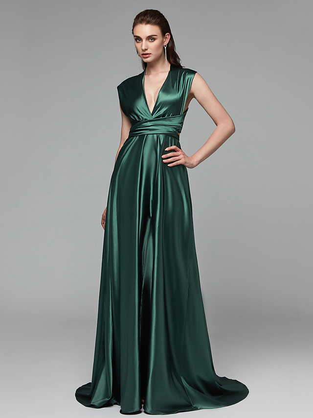 20a1e463990 A-Line Plunging Neck Sweep   Brush Train Satin Chiffon Open Back Prom    Formal Evening Dress with Bow(s)   Split Front by TS Couture®