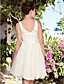 A-line Plus Sizes Wedding Dress - Ivory Knee-length Halter Taffeta