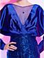 칵테일 파티 드레스 - 로얄 블루 시스/컬럼 핫팬츠/미니 바토 명주그물/반짝이/엘라스틱 우븐 사틴 플러스 사이즈