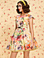TS VINTAGE Floral Printed Puffy Dress with Belt