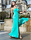 빛나는 칼집 / 칼럼 한쪽 어깨 층 길이 쉬폰 이브닝 드레스