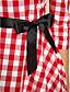 ts do vintage rockabilly menina de verificação padrão de vestido de cordão