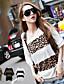 여성의 레오파드 티셔츠,심플 / 스트리트 쉬크 캐쥬얼/데일리 여름 얇음