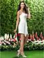 Lanting Bride® Short / Mini Chiffon Bridesmaid Dress Sheath / Column V-neck / Spaghetti Straps Plus Size / Petite with Criss Cross