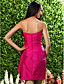 Short / Mini Taffeta Bridesmaid Dress Sheath / Column Strapless / Sweetheart Plus Size / Petite with Flower(s) / Side Draping
