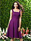 Lanting Bride® Knee-length Chiffon Bridesmaid Dress - A-line Square / Straps Plus Size / Petite with Draping