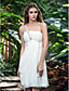 Lanting Bride® Tube / kolonne Petit / Plus Størrelser Brudekjole - Receptionskjoler Små Hvide Kjoler Knælang Etskuldret Chiffon med
