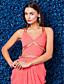 TS couture® официально платье вечера плюс размер / изящная оболочка / колонки V-образным вырезом развертки / щетка поезд жоржет с бисером