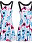 여성의 꽃패턴/뒷면이 없는 스타일 드레스 홀터 넥 민소매 무릎 위 폴리에스테르/아크릴/면혼방