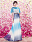 Торжественное мероприятие Платье - Градиент цвета Футляр Глубокий круглый вырез В пол Бархатистый шифон с Брошь, украшенная кристаллами