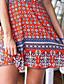 Γυναικεία Καθημερινά Γραμμή Α Φόρεμα,Στάμπα Αμάνικο Δένει στο Λαιμό Πάνω από το Γόνατο Μπλε / Κόκκινο Βαμβάκι Καλοκαίρι Ανελαστικό Λεπτό