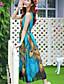 여성의 자수장식 드레스 라운드 넥 민소매 미디 쉬폰