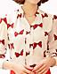 여성의 플로럴 스탠드 긴 소매 셔츠,심플 캐쥬얼/데일리 화이트 / 블랙 그외 봄 중간