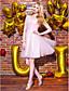 TS Couture Spotkanie towarzyskie Bal Sukienka - Piękne plecy Krój A Odsłonięte ramiona Do kolan Szyfon Koronka Tiul z Koronka Krzyżowe