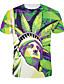 남성의 폴리에스테르 프린트 짧은 소매 캐쥬얼 티셔츠-멀티 색상