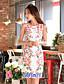 Ženski Haljina Vintage / Jednostavno Korice Cvjetni print,Iznad koljena Okrugli izrez Poliester / Spandex