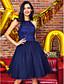 구슬 / 레이스 TS couture® 파티 칵테일 파티 드레스 볼 가운의 고삐 무릎 길이 레이스 / 얇은 명주 그물