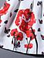 A-linje Kjole Ut på byen Plusstørrelser Søt Dame,Blomstret Rund hals Mini Ermeløs Rosa Polyester Sommer Mellomhøyt liv Mikroelastisk