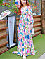 Damen Kleid-Hülle / Swing Boho Blumen Maxi Seide / Polyester V-Ausschnitt