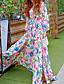Bohem Skjede / Swing Blomstret Dress Kvinner Maxi V-hals Silke / Polyester